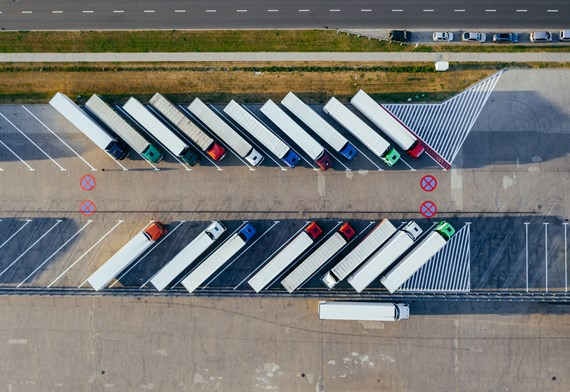 aerial view of parked lorries