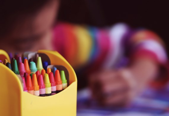 picture of a child using crayons